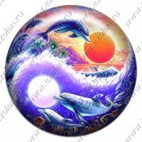 Дельфины внутри инь-ян (объемный талисман-наклейка)